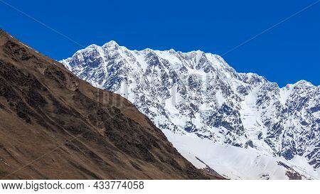Shkhara Mountain Near Ushguli Village. It Is The Highest Peak In Georgia