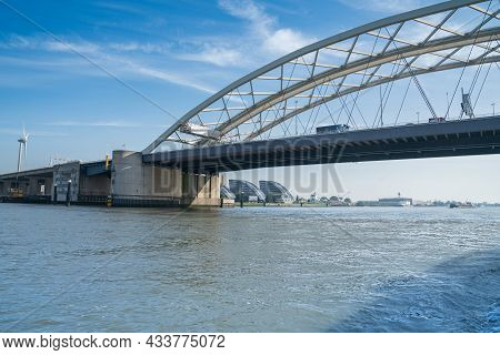 Van Brienenoordbrug Arched Bridge Crossing New Meuse River  On East Side Of Rotterdam.