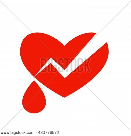 Broken Red Shape Heart With Drop Blood On White Background. Modern Illustration. Simple Object In Fl