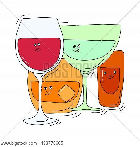 Red Wine Whiskey Vermouth Rum Glassware With Smile Face On White Background. Cartoon Sketch. Doodle