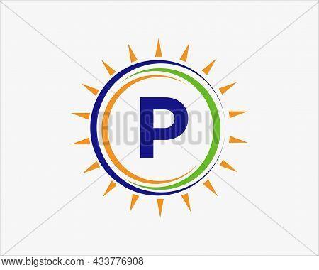 Sun Solar Energy Logo On Letter P Template. P Letter Solar Logo Design. Solar Panel Farm Electric Fa