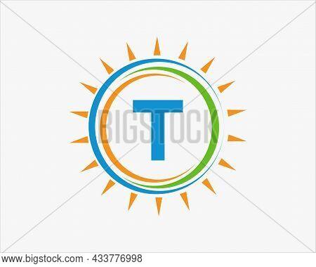 Sun Solar Energy Logo On Letter T Template. T Letter Solar Logo Design. Solar Panel Farm Electric Fa
