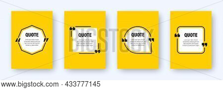 Set Of Modern Yellow Banners With Quote Frames. Speech Bubbles With Quotation Marks. Blank Text Box
