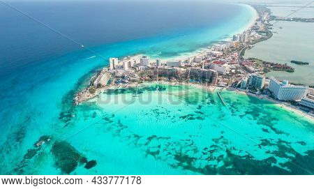 Panoramic Aerial View Of Cancun Beach And City Hotel Zone In Mexico. Caribbean Coast Landscape Of Me