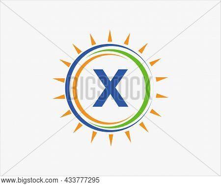 Sun Solar Energy Logo On Letter X Template. X Letter Solar Logo Design. Solar Panel Farm Electric Fa