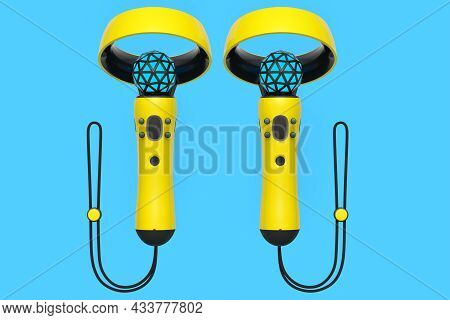 Virtual Reality Yellow Controllers For Online And Cloud Gaming On Blue