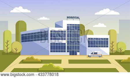 Modern City Glass Building Of Public Hospital With Ambulances And Patients. Exterior Of Municipal Me