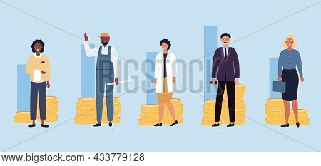 Set With Male And Female Characters With Different Salary On Light Blue Background. Various Income O