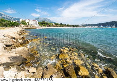 View Of The Coast Of Adriatic Sea In Bar, A Coastal Town And Seaport In Southern Montenegro