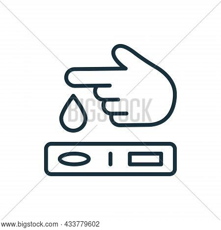 Finger Blood Test Line Icon. Blood Sugar Analysis Linear Pictogram. Research Of Level Glucose Outlin