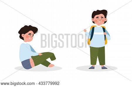 Cute Little Kid Is Dressing Up Or Changing Green Pants On White Background. Young Boy Is Putting Up