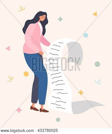 Exhausted Business Woman Is Holding Giant Task List On Paper On Beige Background. Concept Of Time Ma