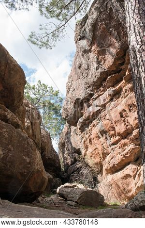 Rock Art Trail At Pinares De Rodeno. Prehistoric Cave Paintings  Near Albarracin, Teruel, Spain. Eur