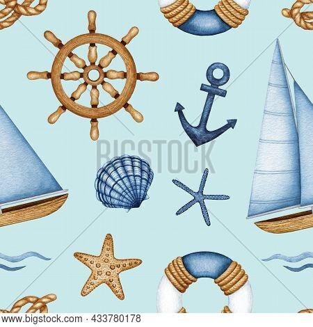 Watercolor Nautical Vessel Equipment, Travel, Marine Seamless Pattern. Sea Life, Ship Navigation. Sa