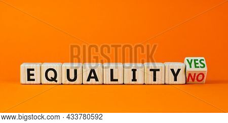 Equality Symbol. Turned A Wooden Cube And Changed Words 'equality No' To 'equality Yes'. Beautiful O