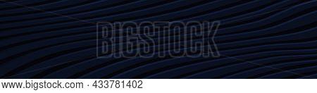 Dark Blue Wide Banner. Navy Blue Texture Striped Wave Lines Modern Pattern Horizontal Background. We