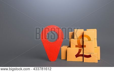 Cardboard Boxes With British Pound Sterling And Red Pin Location Tracking Symbol. Import Export. Del