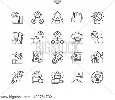Job Promotion. Career Ladder. Business Achievement. Approval For Promotion. Pixel Perfect Vector Thi