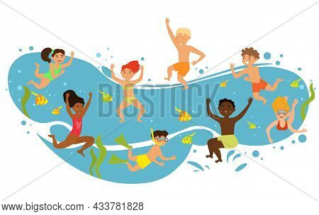 Happy Diverse Children Are Having Fun Diving Under Water Together On White Background. Concept Of Su