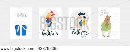 Vector Illustration Character Set Of Father Enjoy Happy Time With Son, In Concept Of Father's Day. P