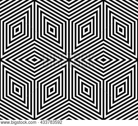 Seamless Geometric Op Art Stars Pattern With Lines Texture. Vector Illustration.