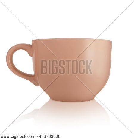 Ceramic Cup. Large Empty Ceramic Mug On A White Background. Mug With A Handle. Brown Cup. Dishes For