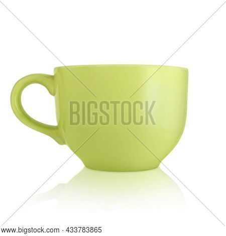 Ceramic Cup. Large Empty Ceramic Mug On A White Background. Mug With A Handle. Green Cup. Dishes For