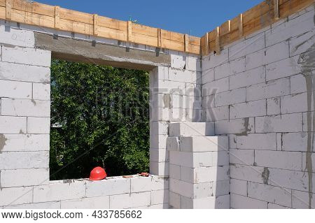 New Construction Of A Gas Block House. Interior View Of The Construction Of A Cottage House