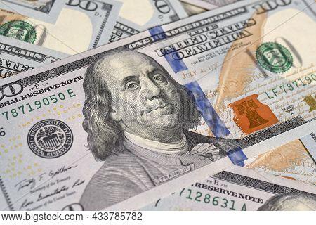 Background From 100 Us Dollar Bills Close Up. Money Background.