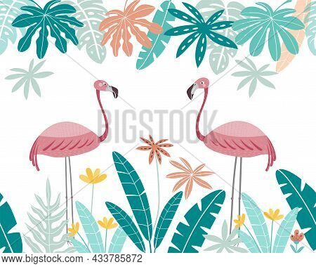 Cute Pink Flamingos With Frame Of Tropical Leaves. Flamingo Isolated On A White Background.