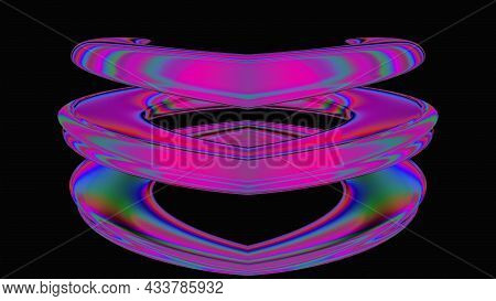 Bright Spinning Spiral In 3d Render Digital Space. Graphic Curved Lines In Illusory Futuristic Vorte