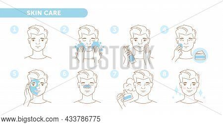 Tutorial Set With Linear Male Character Showing How To Take Care Of Skin Properly On White Backgroun