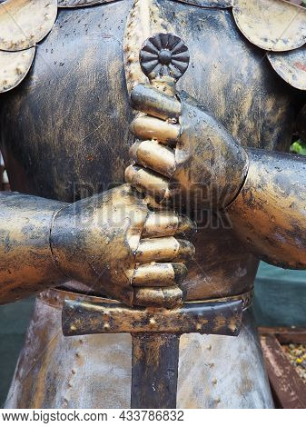 Ancient Metal Armor, Iron Detail. Armor, Safety Weapon - In Antiquity And The Middle Ages, A Warrior