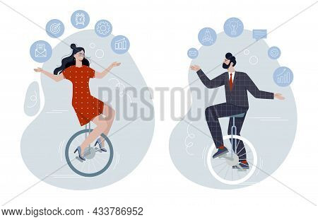 Male And Female Characters Are Riding Unicycle And Juggling Office Related Elements. Productive Mast