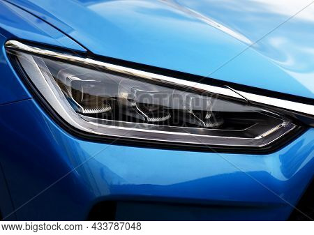Headlight. Led Headlamp Of A Modern Car. Frontal Lighting Of Highway Vehicles With Daytime Running L