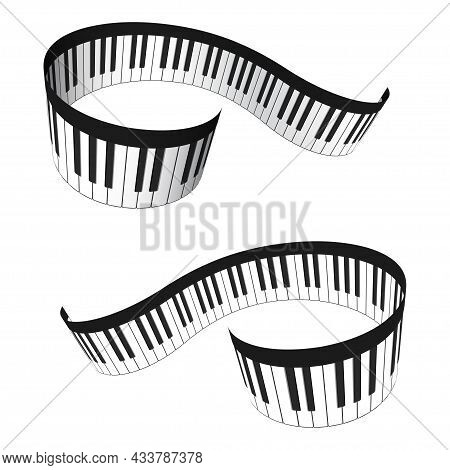 Set Of Musical 3d Piano Keyboard In Perspective. Realistic Piano Keys In Isometric Style. Musical In
