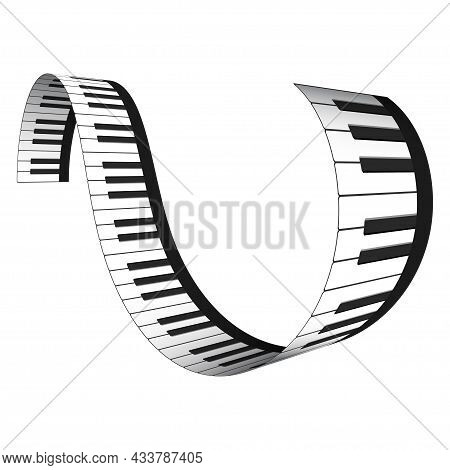 3d Realistic Piano Keys In Isometric Style. Musical Instrument Keyboard As Decorative Design Element