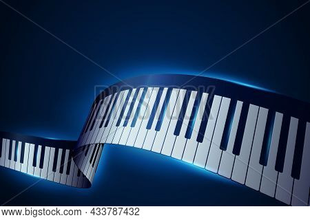 Realistic Piano Keys In Isometric Style. Abstract Blue Musical Background. 3d Piano Keyboard. Musica