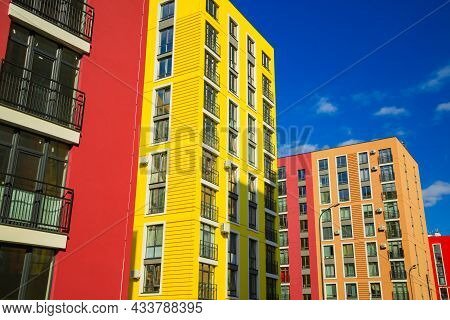 Colorful Vibrant New Estate Of Living Apartment In The City