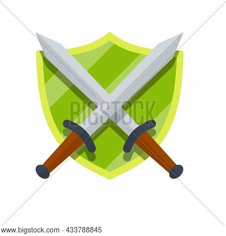 Medieval Heraldic Coat Of Arms. Green Guard Shield And Crossed Sword.