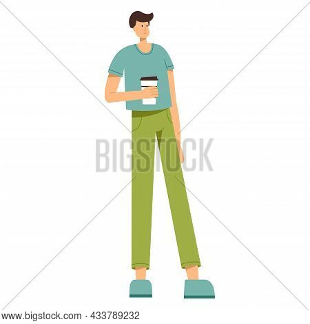 Man Holding Cup Of Coffee In His Hand, Vector Illustration