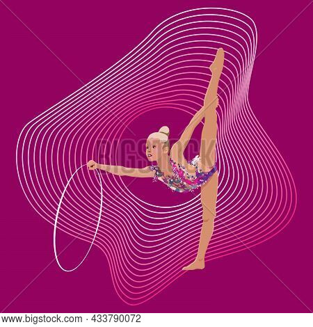 Elegant Drawing Of A Gymnast. The Girl Is Practicing In Gymnastics With A Hoop. On An Abstract Backg