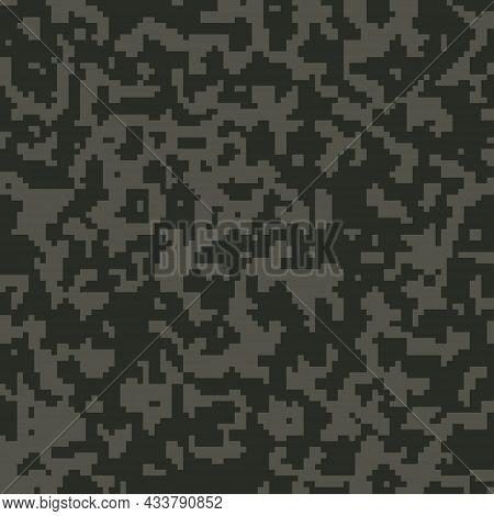 Digital Dark Khaki Pixel Camouflage Seamless Pattern For Your Design. Vector Camo Texture