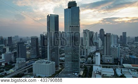 Aerial View Of Asia Business Concept For Real Estate - Panoramic Modern Cityscape Building Bird Eye