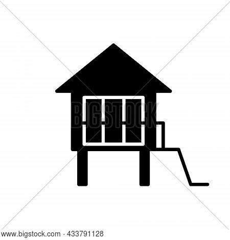 Water Bungalow On Stilt Glyph Icon. Maldivian House. Exotic Vacation. Tropical Resort. Black Filled
