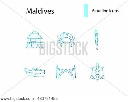 Maldives Attributes Outline Icons Set. Crab And Turtle. Geography, Sea Plane. Capital Male Arch. Blu