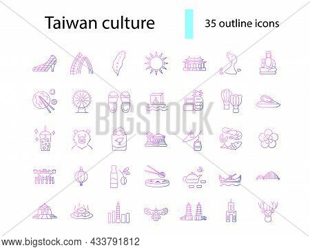 Taiwanese Style Culture Outline Icons Set. Asian Attractions. Oriental Specialty Of Taiwan. Purple G