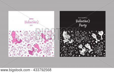 Vector Illustration Of Cats In Love For A Romantic Day. Pictures Of Cats In Vector Format For The De