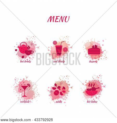 Valentines Menu For A Romantic Day. Menu Icons In Vector Format And Red Colors For The Design Of A R