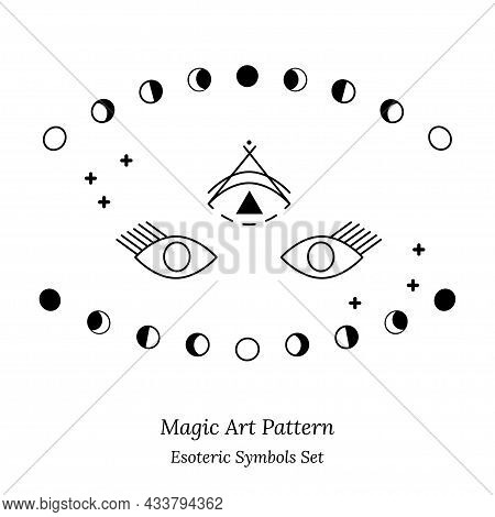 Illustration Of Spiritual Session. Set Of Magic Items, Phases Of Moon, Stars. Opening Third Eye Of S